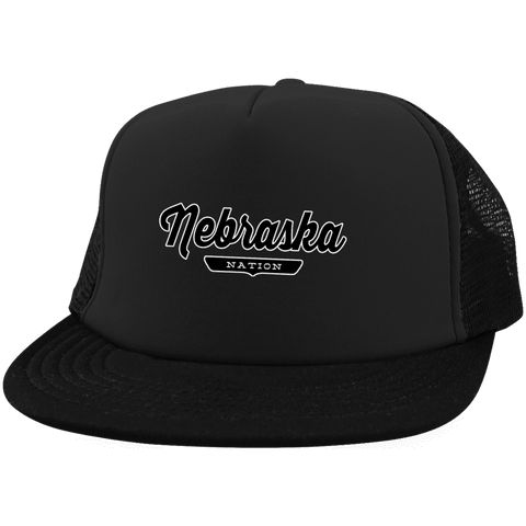 Black / One Size Nebraska Nation Trucker Hat with Snapback - The Nation Clothing