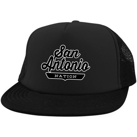 Black / One Size San Antonio Nation Trucker Hat with Snapback - The Nation Clothing