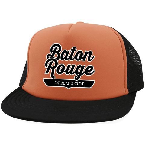 Neon Orange/Black / One Size Baton Rouge Nation Trucker Hat with Snapback - The Nation Clothing