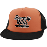 Neon Orange/Black / One Size Beverly Hills Nation Trucker Hat with Snapback - The Nation Clothing