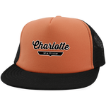 Neon Orange/Black / One Size Charlotte Nation Trucker Hat with Snapback - The Nation Clothing