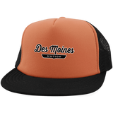 Neon Orange/Black / One Size Des Moines Nation Trucker Hat with Snapback - The Nation Clothing