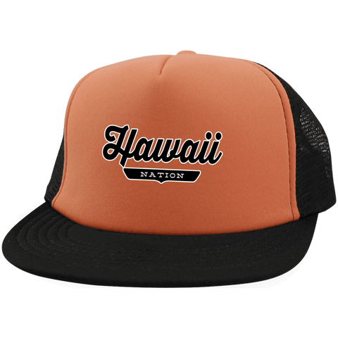 Neon Orange/Black / One Size Hawaii Nation Trucker Hat with Snapback - The Nation Clothing