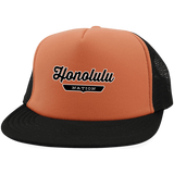 Neon Orange/Black / One Size Honolulu Nation Trucker Hat with Snapback - The Nation Clothing