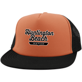 Neon Orange/Black / One Size Huntington Beach Nation Trucker Hat with Snapback - The Nation Clothing