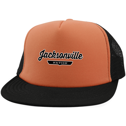 Neon Orange/Black / One Size Jacksonville Nation Trucker Hat with Snapback - The Nation Clothing