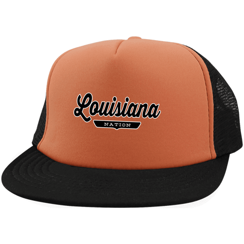 Neon Orange/Black / One Size Louisiana Nation Trucker Hat with Snapback - The Nation Clothing