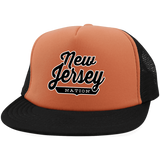 Neon Orange/Black / One Size New Jersey Nation Trucker Hat with Snapback - The Nation Clothing