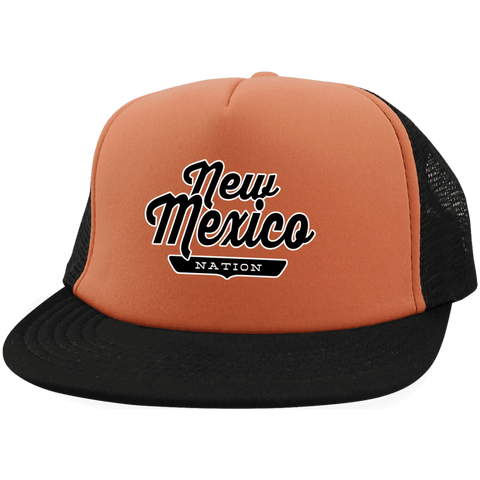 Neon Orange/Black / One Size New Mexico Nation Trucker Hat with Snapback - The Nation Clothing