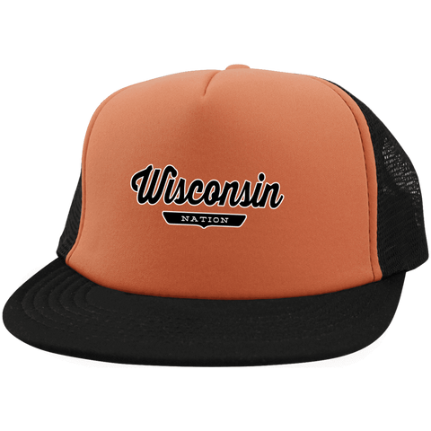 Neon Orange/Black / One Size Wisconsin Nation Trucker Hat with Snapback - The Nation Clothing