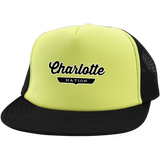Neon Yellow/Black / One Size Charlotte Nation Trucker Hat with Snapback - The Nation Clothing