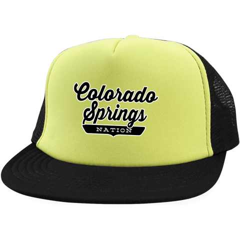 Neon Yellow/Black / One Size Colorado Springs Nation Trucker Hat with Snapback - The Nation Clothing
