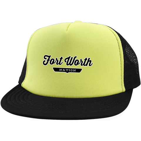 Neon Yellow/Black / One Size Fort Worth Nation Trucker Hat with Snapback - The Nation Clothing