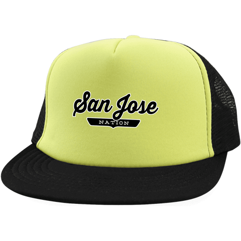 Neon Yellow/Black / One Size San Jose Nation Trucker Hat with Snapback - The Nation Clothing