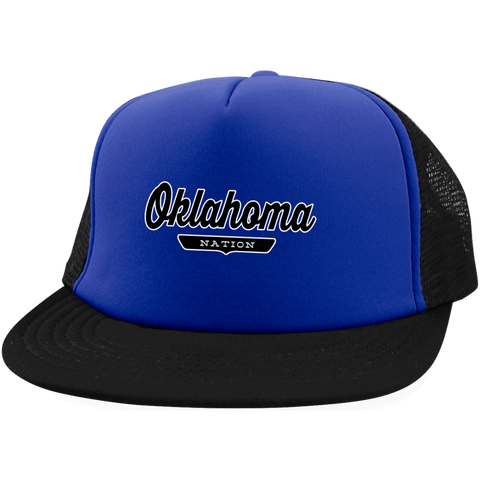 Royal/Black / One Size Oklahoma Nation Trucker Hat with Snapback - The Nation Clothing
