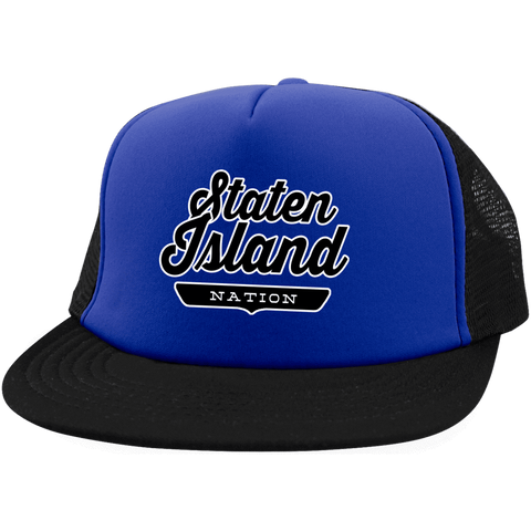 Royal/Black / One Size Staten Island Nation Trucker Hat with Snapback - The Nation Clothing