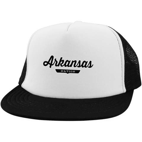 White/Black / One Size Arkansas Nation Trucker Hat with Snapback - The Nation Clothing