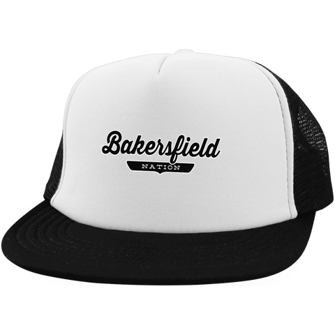 White/Black / One Size Bakersfield Nation Trucker Hat with Snapback - The Nation Clothing