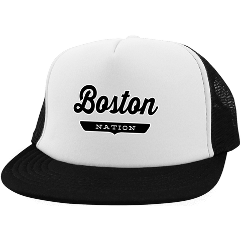 White/Black / One Size Boston Nation Trucker Hat with Snapback - The Nation Clothing
