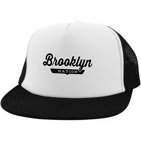 White/Black / One Size Brooklyn Nation Trucker Hat with Snapback - The Nation Clothing