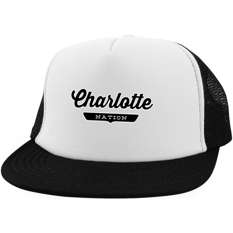 White/Black / One Size Charlotte Nation Trucker Hat with Snapback - The Nation Clothing