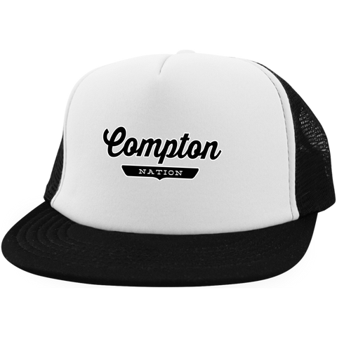White/Black / One Size Compton Nation Trucker Hat with Snapback - The Nation Clothing