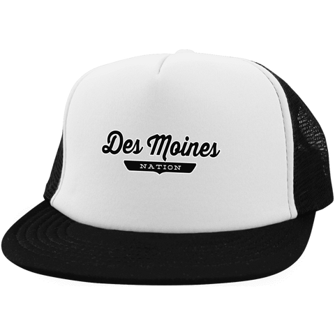 White/Black / One Size Des Moines Nation Trucker Hat with Snapback - The Nation Clothing