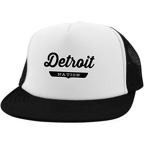 White/Black / One Size Detroit Nation Trucker Hat with Snapback - The Nation Clothing