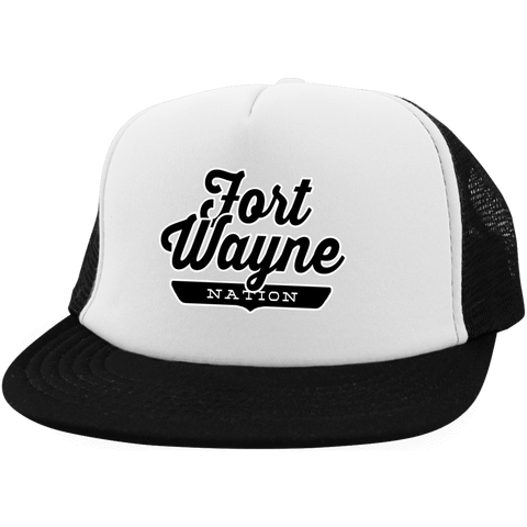 White/Black / One Size Fort Wayne Nation Trucker Hat with Snapback - The Nation Clothing