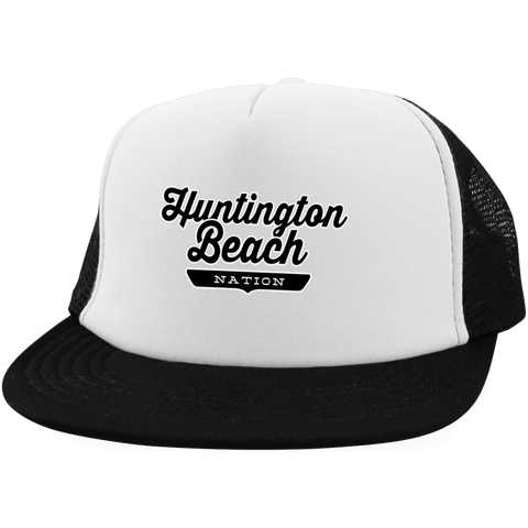 White/Black / One Size Huntington Beach Nation Trucker Hat with Snapback - The Nation Clothing