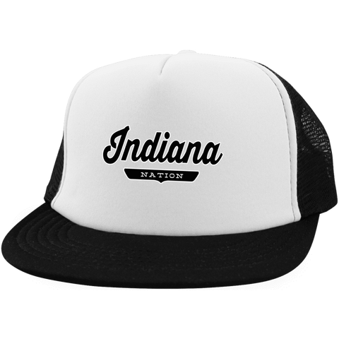 White/Black / One Size Indiana Nation Trucker Hat with Snapback - The Nation Clothing