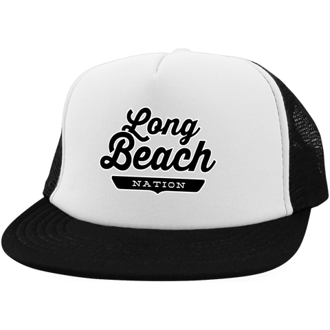 White/Black / One Size Long Beach Nation Trucker Hat with Snapback - The Nation Clothing