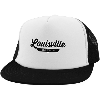 White/Black / One Size Louisville Nation Trucker Hat with Snapback - The Nation Clothing