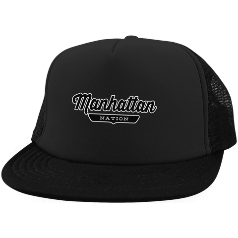Black / One Size Manhattan Nation Trucker Hat with Snapback - The Nation Clothing