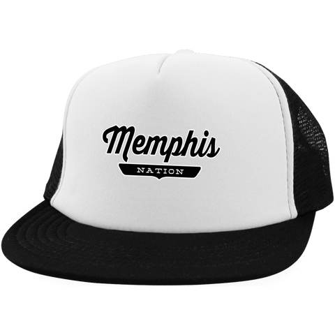 White/Black / One Size Memphis Nation Trucker Hat with Snapback - The Nation Clothing