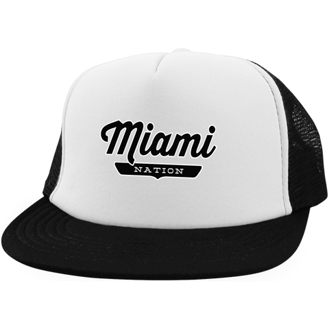 White/Black / One Size Miami Nation Trucker Hat with Snapback - The Nation Clothing