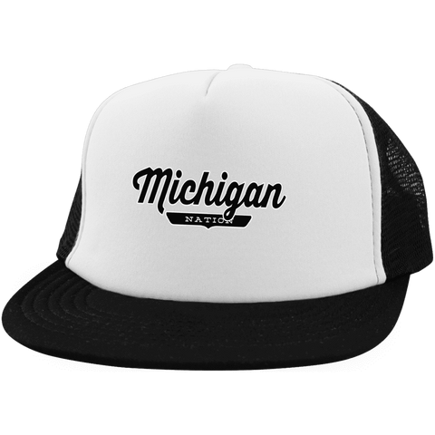 White/Black / One Size Michigan Nation Trucker Hat with Snapback - The Nation Clothing