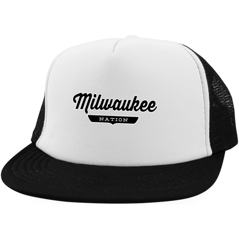 White/Black / One Size Milwaukee Nation Trucker Hat with Snapback - The Nation Clothing
