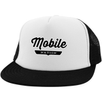 White/Black / One Size Mobile Nation Trucker Hat with Snapback - The Nation Clothing