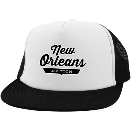 White/Black / One Size New Orleans Nation Trucker Hat with Snapback - The Nation Clothing