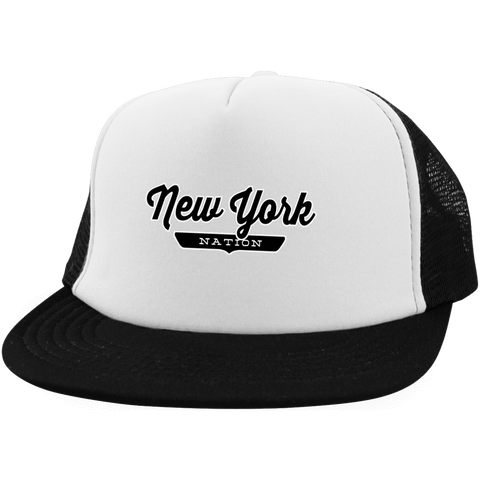 White/Black / One Size New York City Nation Trucker Hat with Snapback - The Nation Clothing