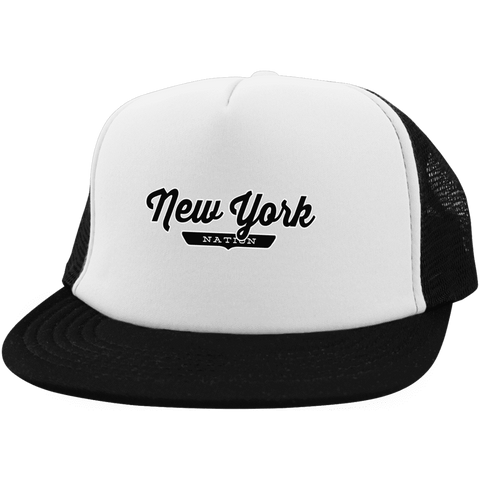 White/Black / One Size New York Nation Trucker Hat with Snapback - The Nation Clothing