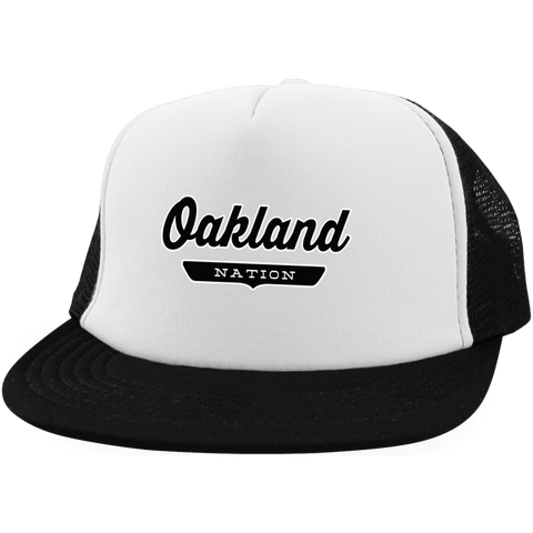 White/Black / One Size Oakland Nation Trucker Hat with Snapback - The Nation Clothing