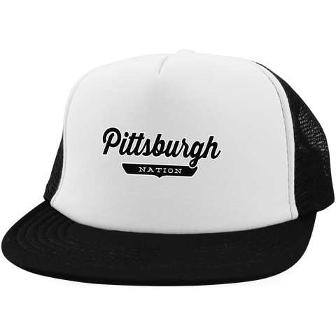 White/Black / One Size Pittsburgh Nation Trucker Hat with Snapback - The Nation Clothing