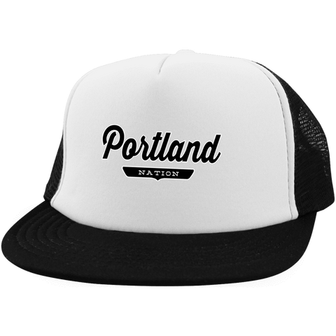 White/Black / One Size Portland Nation Trucker Hat with Snapback - The Nation Clothing