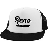 White/Black / One Size Reno Nation Trucker Hat with Snapback - The Nation Clothing