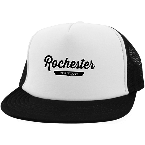 White/Black / One Size Rochester Nation Trucker Hat with Snapback - The Nation Clothing