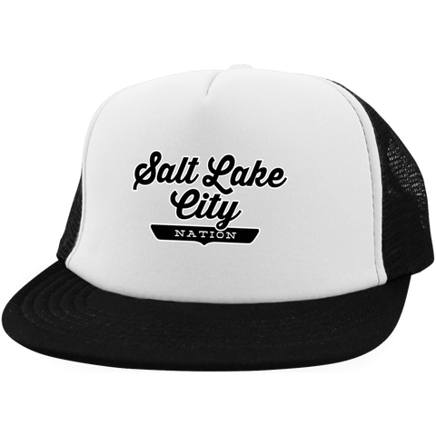 White/Black / One Size Salt Lake City Nation Trucker Hat with Snapback - The Nation Clothing