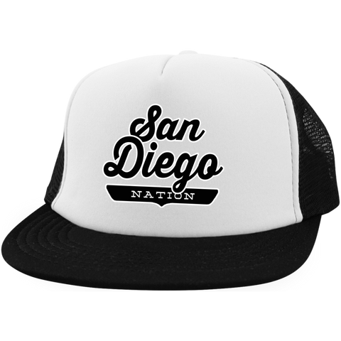 White/Black / One Size San Diego Nation Trucker Hat with Snapback - The Nation Clothing