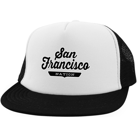 White/Black / One Size San Francisco Nation Trucker Hat with Snapback - The Nation Clothing